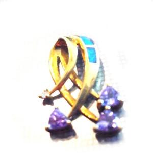 10K Yellow Gold Tanzanite Inlay Opal and Diamond Pendant