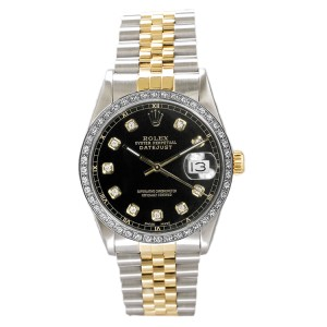 Rolex Datejust Two Tone Custom Diamond Bezel & Black Diamond Dial