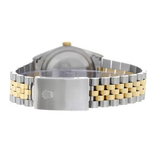 Rolex Men's Datejust Two Tone Fluted Custom Black Diamond Dial