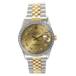 Rolex Men's Datejust Two Tone Custom Diamond Bezel & Champagne Diamond Dial