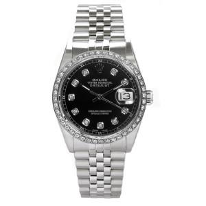 Rolex Men's Datejust Stainless Steel Custom Diamond Bezel & Black Diamond Dial
