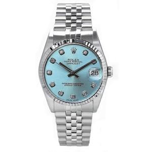 Rolex Datejust Stainless Steel Custom Ice Blue Diamond Dial