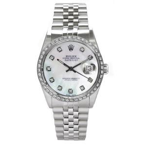 Rolex Men's Datejust Stainless Steel Custom Diamond Bezel & Mother of Pearl Diamond Dial