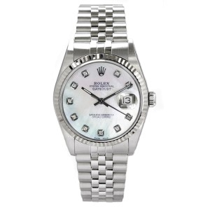 Rolex Men's Datejust Stainless Steel Custom Mother of Pearl Diamond Dial
