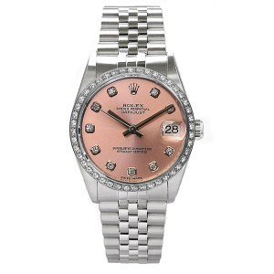 Rolex Datejust Stainless Steel Custom Diamond Bezel & Pink Diamond Dial