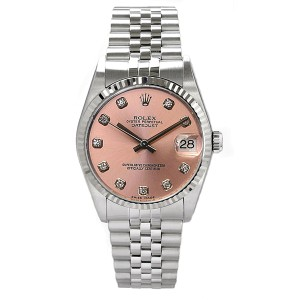 Rolex Datejust Stainless Steel Custom Pink Diamond Dial