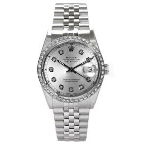 Rolex Men's Datejust Stainless Steel Custom Diamond Bezel & Silver Diamond Dial