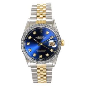 Rolex Men's Datejust Two Tone Custom Diamond Bezel & White Diamond Dial