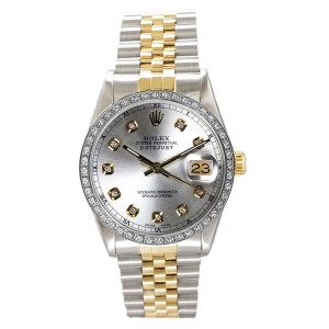 Rolex Men's Datejust Two Tone Custom Diamond Bezel & Silver Diamond Dial