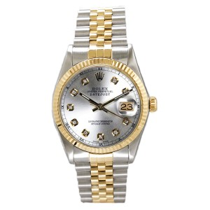 Rolex Men's Datejust Two Tone Fluted Custom Silver Diamond Dial