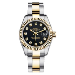 Rolex Women's New Style Two-Tone Datejust with Custom Black Diamond Dial and Bezel on Oyster Band