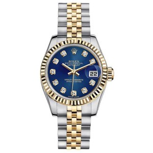 Rolex Women\u0027s New Style Two,Tone Datejust with Custom Blue Diamond Dial  26mm Women\u0027s Watch