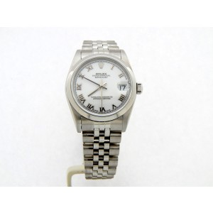 Mid Size Rolex Stainless Steel Datejust White Roman 78240