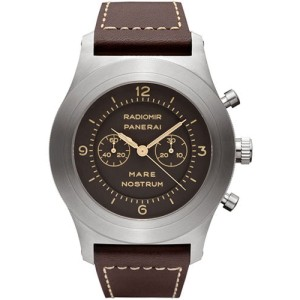 Panerai Mare Nostrum Titanium Leather with Brown Dial 52mm Mens Watch