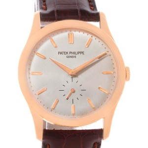 Patek Philippe Calatrava 5196R 18K Rose Gold & Silver Dial 37mm Mens Watch