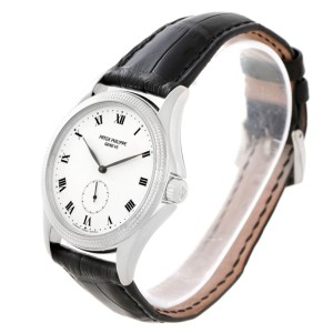 Patek Philippe Calatrava 5115 18K White Gold & Leather Manual 35mm Mens Watch