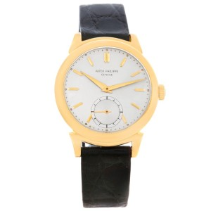 Patek Philippe Calatrava 1491 18K Yellow Gold & Leather Vintage 34mm Mens Watch