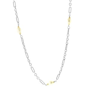 David Yurman Cable Link Pearl Necklace in Sterling Silver & 18K Yellow Gold