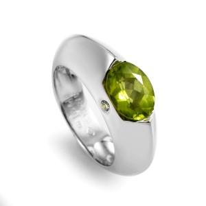 Piaget 18K White Gold Peridot Diamond Ring