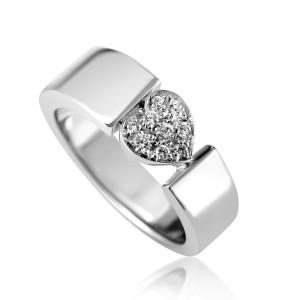 Piaget Juliet 18K White Gold Diamond Pave Heart Ring