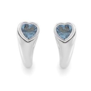 18K White Gold Topaz Heart Earrings