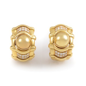 Plaget 18K Yellow Gold Diamond Huggie Earrings