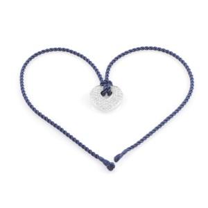 Poiray 18K White Gold Diamond Pendant & Royal Blue Cord Necklace