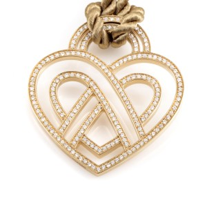 Poiray Wire Heart Framework 18K Yellow Gold Diamond Pendant & Cord Necklace