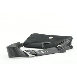 Prada Black Leather x Nylon Tessuto Shoulder Flap Bag 39pr115