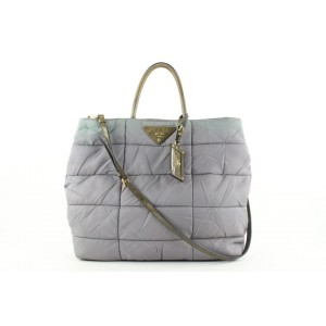 Prada Grey Quilted Tessuto Nylon 2way Tote Bag 63pr423