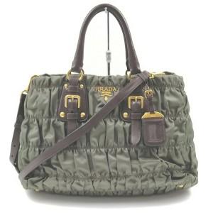 Prada Green Cinched Ruffle 2way Tote Bag 862577