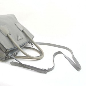 Prada Grey Leather 2way Tote Bag with Strap  862689