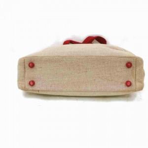Prada Beige X Linen 872999 Red Canvas Tote
