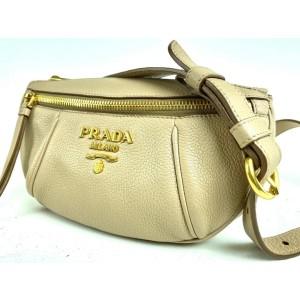 Prada Rose Beige Daino Belt Bag Leather Waist Pouch Fanny Pack 3pra859