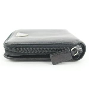 Prada Black Saffiano Leather Compact Zip Around Wallet Zippy Coin 18pr112