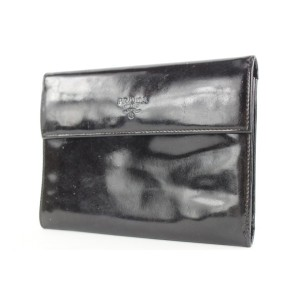 Prada Large Black Patent Flap Wallet 336pr224