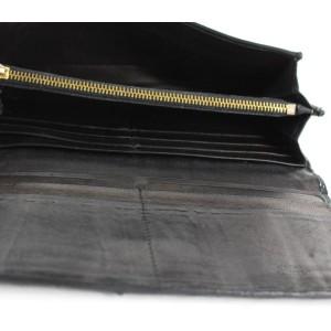 Prada Black Leather Ruffle Cinched Wallet Long Bifold 25PR1210