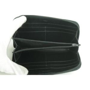 Prada Enamel Logo Zip Around Long Wallet Black Laather Clutch 12PK0123