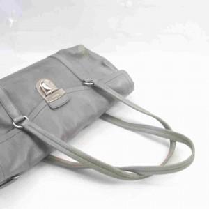 Prada Boston 860059 Gray Leather Shoulder Bag