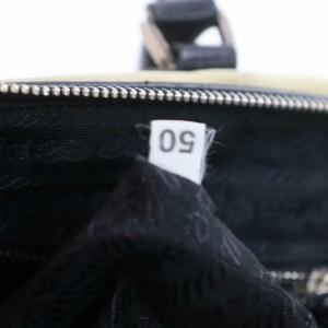 Prada Boston 872190 Large Khaki Doctors Beige Nylon X Leather Satchel