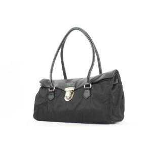 Prada Black Tessuto Nylon and Leather East West Boston Bag 22pr114