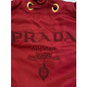 Prada Red Tessuto Nylon and Python Snakeskin Small Beaded Bucket 3PRA925