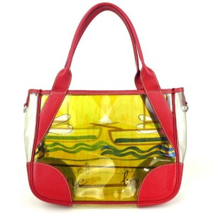 Prada Clear Yellow 872808 Red Vinyl Tote