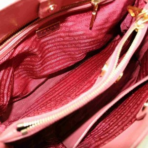 Prada Double Saffiano Zip Luxe Tote with Strap 873008 Pink Leather Shoulder Bag