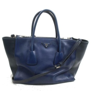 Prada Galleria 872320 Bicolor with Strap 2way Blue Leather Tote