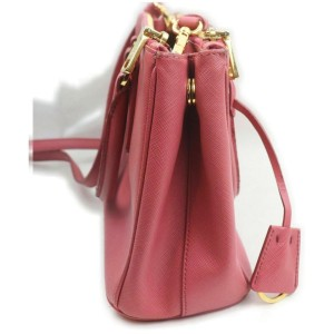 Prada Small Pink Saffiano Leather Luxe 2way Tote863041