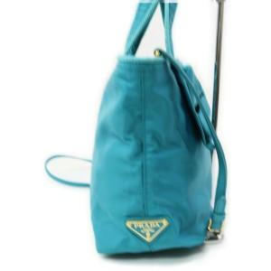 Prada Blue Nylon Tessuto Bow Logo ConvertibleTote Bag 863124