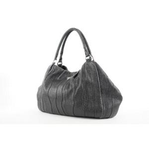 Prada Shimmer Black Leather Hobo Bag 388pr226