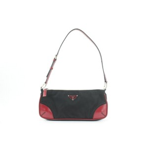 Prada Black x Red Nylon Tessuto x Leather Shoulder Baguette Mini Bag 7pr114