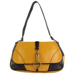 Prada Mustard x Brown Leather Shoulder Bag 30PR1215